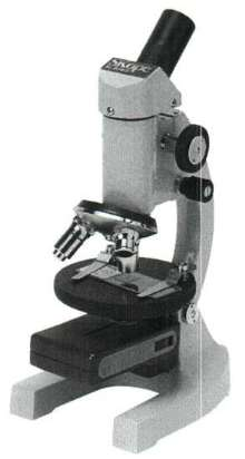 Compound Microscope has LED illuminator and moveable stage.