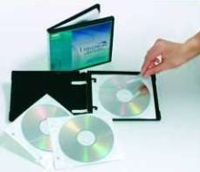Multi-Disc Wallet stores up to 5 CDs or DVDs.