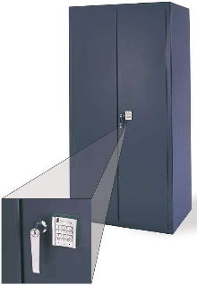 Cabinet has electronic locking system.