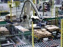 Robotic Bag Palletizer accepts up to 3 production lines.