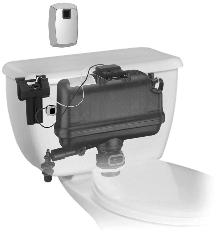 Toilet Retrofit System provides touchless flushing.