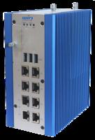 DIN-Rail PL-8097 Network System presents four 802.3 af PoE+ GbE ports.
