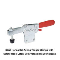 Steel Horizontal Acting Toggle Clamps uses finger grip to disengage latch.