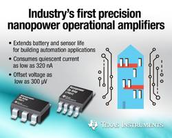 TI's Nanopower Op Amps enable energy-efficient 4- to 20-mA loop systems.