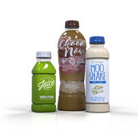 PET Bottles and Preforms with wrap, shrink and pressure-sensitive labels.