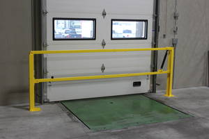 Loading Dock Safety Gate features durable powder coat yellow finishing.