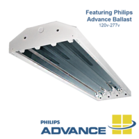 4-lamp T5 Fluorescent High Bay Fixture features aluminum reflector.