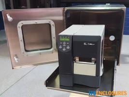 NEMA 4X PB20 Printer Enclosure Box features stainless steel hinged printer door.