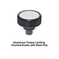 Aluminum Torque Limiting Knurled Knobs with Steel Threaded Stud Available from J.W. WINCO