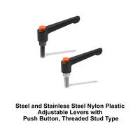 J.W. Winco Offers Nylon Plastic Adjustable Levers with Push Button, Threaded Stud Type, With Steel or Stainless Steel Components