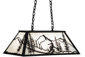 Model 15419 Alpine Oblong Pendant features winter skier.