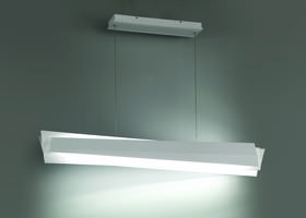 Abstract LED Pendant comes in sculptural linear design.