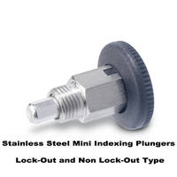 Metric Size Stainless Steel Mini Indexing Plungers Lock-Out and Non Lock-Out Types, with Open Lock Mechanism Available from J.W. Winco