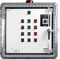 Pump Control Panels feature NEMA 4X three-point latching enclosure.