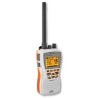 MR HH600 VHF Radio comes with floating orange core.