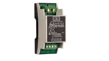 VTU-DIN Series Transducer is housed in 35 mm wide DIN rail mounting enclosure.