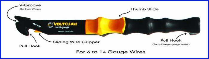 Multi-Gauge Electrician's Tool comes with sliding wire gripper.