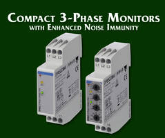 Three Phase Monitoring Relays feature built-in switch mode power supply.