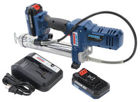 Lithium-Ion PowerLuber Grease Gun delivers grease at up to 8,000 psi.