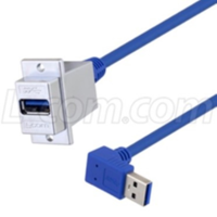 USB 3.0 ECF-Style Panel Mount USB Adapter Cables feature right angle connector.