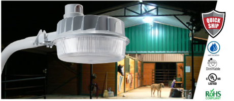LSI Dusk-to-Dawn LED Light features polycarbonate lens.