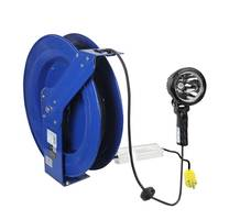 Handheld LED Spotlight features 100 ft cord reel.
