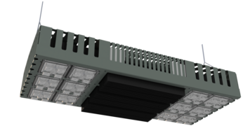 Mega High Bay Fixture is equipped with aggressive thermal management.