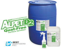 Alpet D2 Quat-Free Surface Sanitizer is suitable for non-porous surfaces.