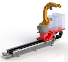 ArcTrack Robot Track Motion Module comes with an auxiliary shelf.