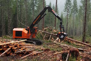 Barko 270B Logging Processor features dual swing drives.