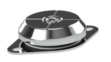 Bell Mount Series Deflection Isolation Mounts are made of zinc plated steel.