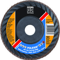 POLIFAN® PSF Z-TRIM Trimmable Flap Discs are made of zirconia coated material.