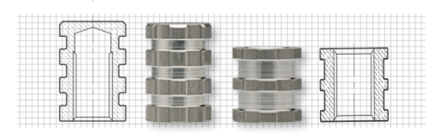 Molded-in Threaded Inserts are made of 2024 grade aluminum material.
