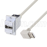 USB 2.0 Panel Mount Adapter Cables feature a right-angle connector.