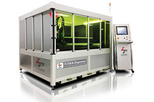 Titan Express Fiber Laser Cutting System features software-controlled geometry alignment.