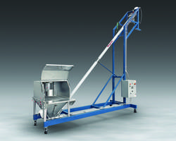 Mobile Flexible Screw Conveyor features dust hood.