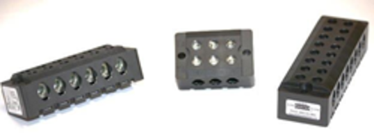 HP-ATA-90 Series High-Power Dead Front Terminal Block comes in PBT G30% housing.