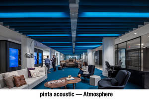 pinta acoustic SONEX® Linear Provides Color Saturation that Meets Interior Design Vision at Atmosphere's Showroom and WORKLAB