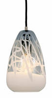 JESCO's PD 412 LED Pendants come with white translucent drizzle patterns.