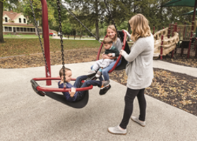 Landscape's two seated Face-to-Face Friendship Swing is suitable for all ages.