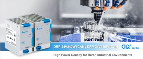 New DRP-24V240W1CAN and DRP-24V480W1CAN DIN Rail Power Supplies' Built-in PFC Starts Up at Temperatures as Low as -40 Degrees C