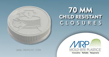 Mold-Rite Plastics Offers Child Resistant Closures for Application Where Secure Package is Required
