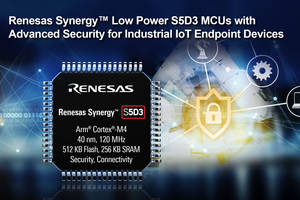 Renesas Presents S5D3 Microcontrollers with Secure Cryptographic Engine and Synergy Software Package