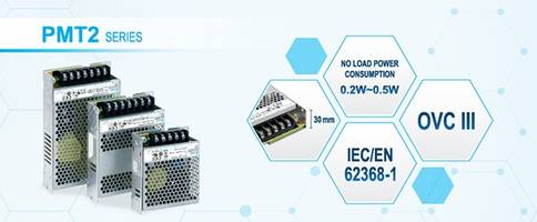 New PMT2 Series Power Supplies are Designed in a Low Profile of < 30mm
