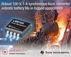 New LM5164 Buck Converter Operates from a Wide Input Voltage of 6 V to 100 V and Delivers up to 1-A DC Load Current