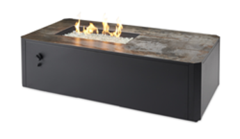 "New Kinney Rectangular Gas Fire Pit Table Features 12"" x 24"" UL Listed Crystal Fire Burner"