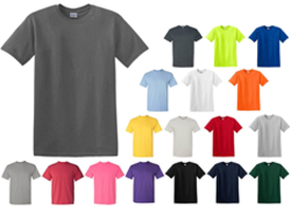 New T-shirts Gildan G5000, Gildan G64000 and Gildan G5400 Contains Double Stitching in The Neckline, Bottom Hem and Sleeves