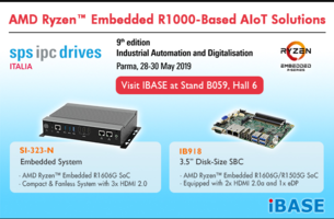 IBASE will be Debuting AMD Ryzen™ Embedded R1000-Based AIoT Solutions at SPS Italia 2019