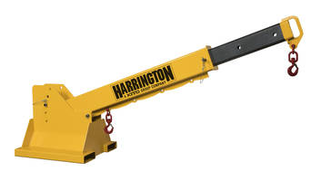 New HTBP Telescoping Pivot Fork Truck Boom is Proof-Tested to 125% Capacity
