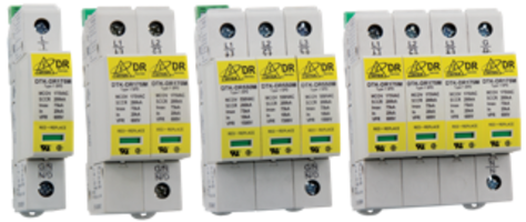New DIN-rail surge protectors Provides 75,000 amp Surge Current Rating to Ensure Powerful Protection